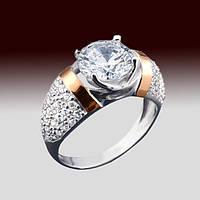 Женское серебряное кольцо 925 пробы с напаянными золотыми пластинами 375 пробы с фианитами