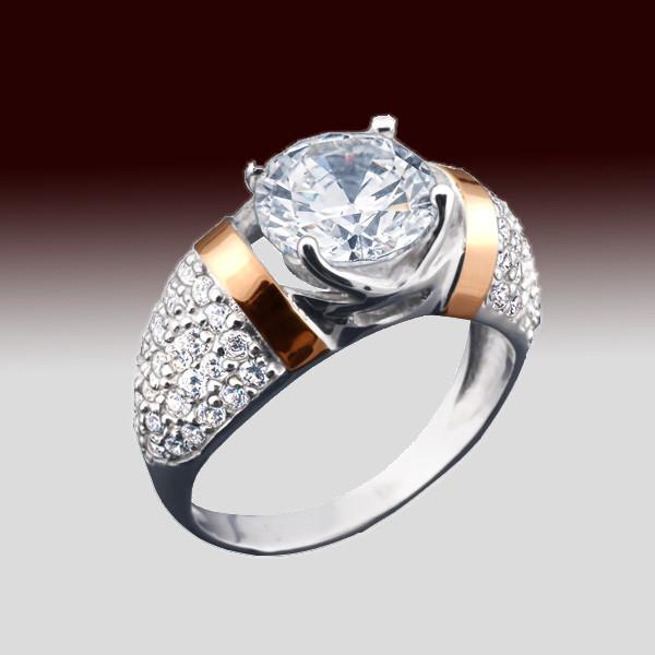 d226aa8fe34b Женское серебряное кольцо 925 пробы с напаянными золотыми пластинами 375  пробы с фианитами - Интернет-