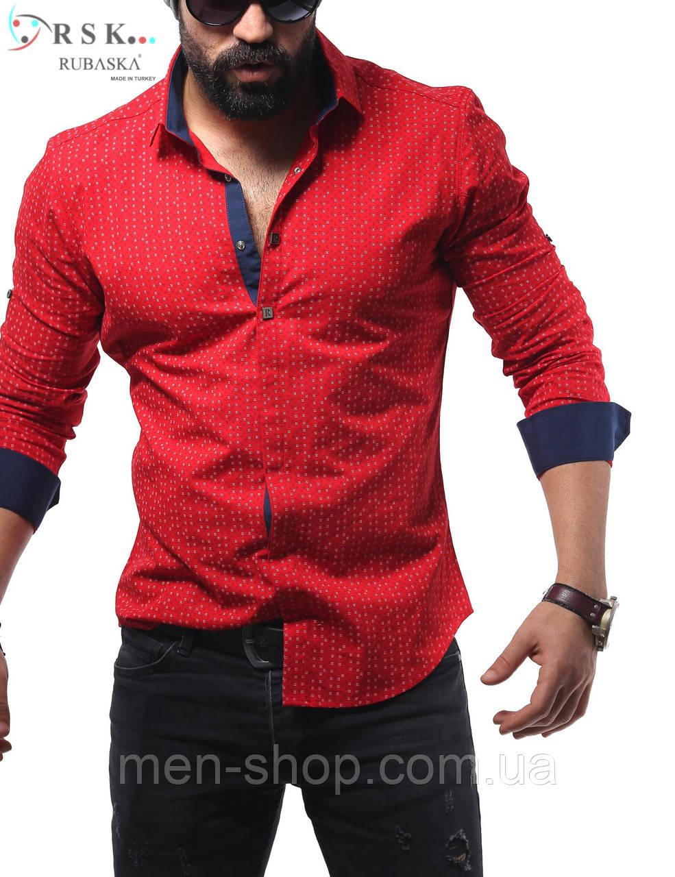 Качественная мужская рубашка красного цвета, в мелкий горошек