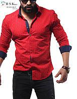 Качественная мужская рубашка красного цвета, в мелкий горошек, фото 1