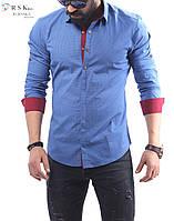 Качественная мужская рубашка голубого цвета, в мелкий горошек, фото 1