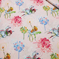 Хлопковая ткань с феями на розовых полосках №382