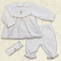 Крестильный костюм Марія для девочки Велюр Цвет белый, молочный рамер 56-68 Бетис