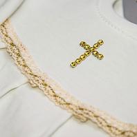 Крестильный костюм Марія для девочки ДР Интерлок Цвет белый, молочный рамер 74-86 Бетис