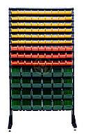 Стеллаж с пластиковыми ящиками 1,8 м на 105 метизных ящиков для склада