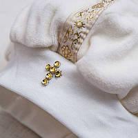 Крестильный костюм Мирослав для мальчика  д.р. Велюр Цвет белый, молочный рамер 80-86 Бетис