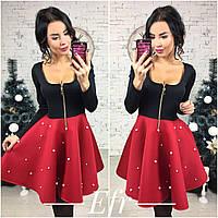 Модное платье, низ декорирован жемчугом, цвет черный+красный . Арт-8643/70