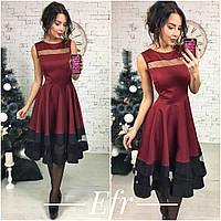 Стильное бордовое  коттоновое платье с черными  полосками. Арт-8644/70