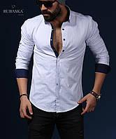 Рубашка мужская белого цвета, в мелкий горошек, фото 1