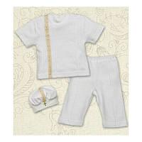 Крестильный костюм Мирослав для мальчика  к.р. Интерлок Цвет белый, молочный рамер 56- 68 Бетис