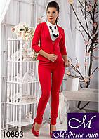 Офисный женский костюм красного цвета (р.44, 46) арт.10893