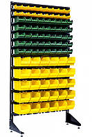 Односторонний стеллаж стойка с метизными ящиками