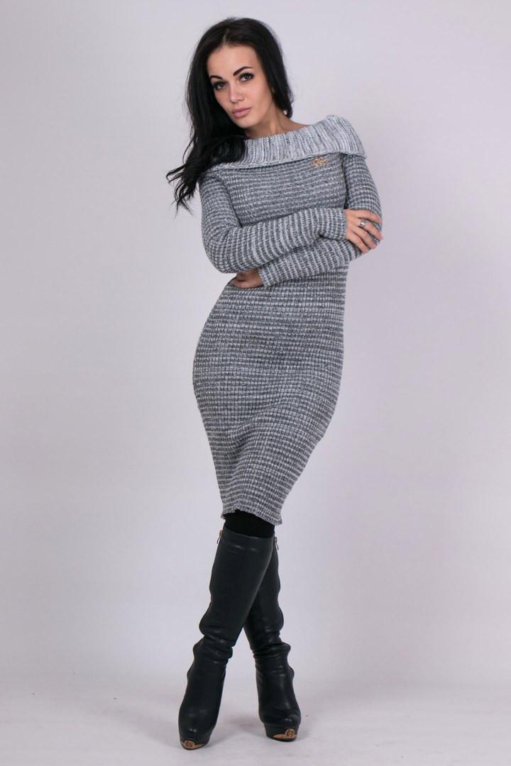 Элегантное женское платье (серый меланж)