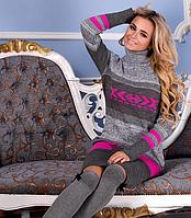 Вязаное платье Мулине  серый +малина 42-48