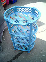 Этажерка пластиковая для ванны и кухни (голубая)
