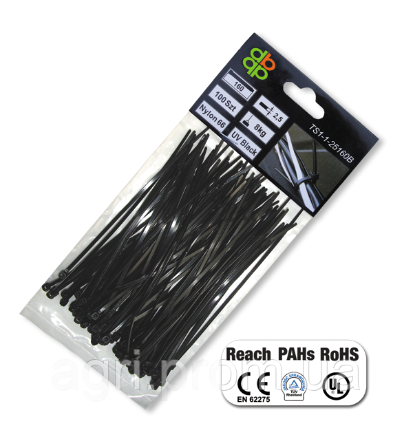 Стяжки кабельные пластиковые чёрные UV Black 2,5*130мм (100шт)