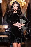 Стильное черное бархатное платье с воланами. Арт-9412/57