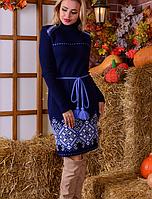 Вязаное платье Иванка синий +белый 42-48