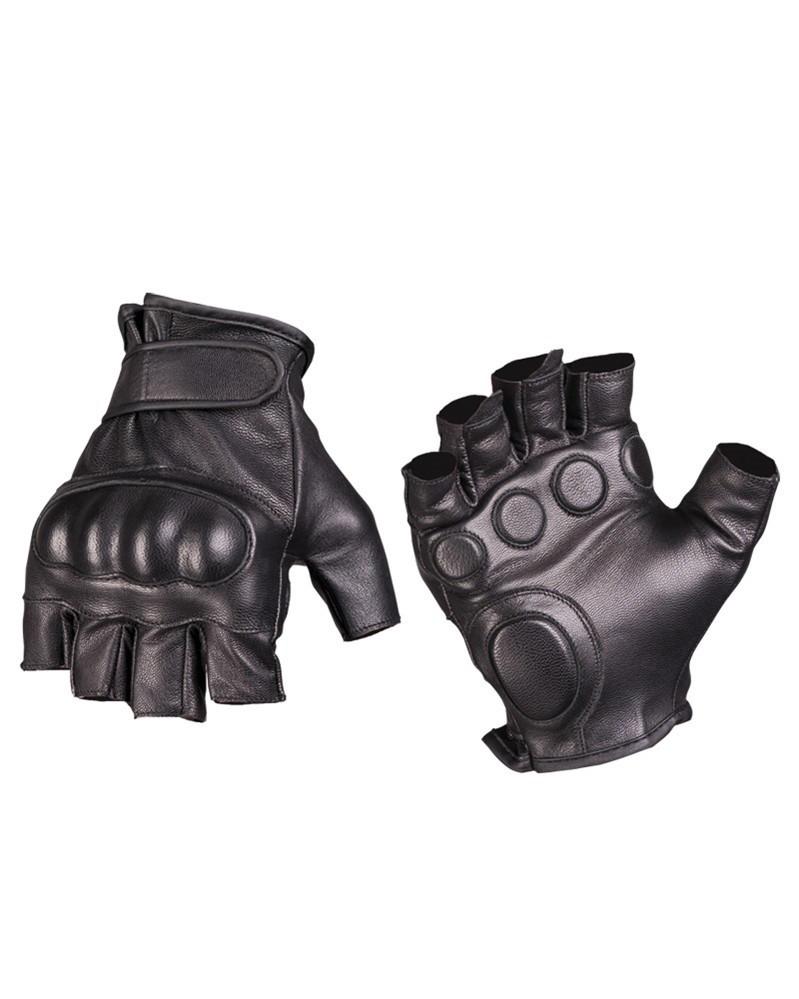 Тактические перчатки кожаные беспалые MilTec Black 12504502