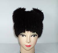 """Женская зимняя шапка из меха ондатры """"Панда"""" (с черным)"""