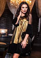 Красивое черное  платье из бархата, сетки и атласа. Арт-9414/57