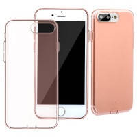 Защитный чехол Baseus simple series with pluggy transparent/ rose gold для iPhone 7 plus 8 plus