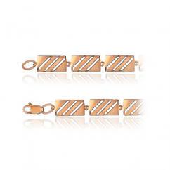 Объемный золотой браслет с цирконами