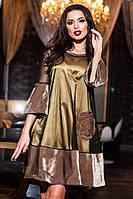 Красивое бежевое  платье из бархата, сетки и атласа. Арт-9414/57