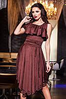 Замшевое платье с воланами, перфорацией, цвет шоколад. Арт-9415/57