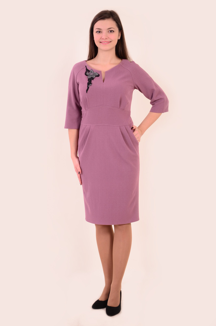 Плаття рожеве тепле букле , приталене, пл 144, 44-50 , одяг для повної молоді, по коліно.