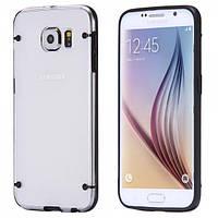 Чехол TPU+PC прозрачный светящийся в темноте для Samsung Galaxy S6 черный, фото 1