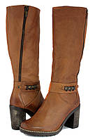 Польские женские сапоги из коричневого нубука на устойчивом каблуке. Купить на RUTECKIY.COM