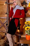Вязаное платье Корсет красный+ черный 42-48