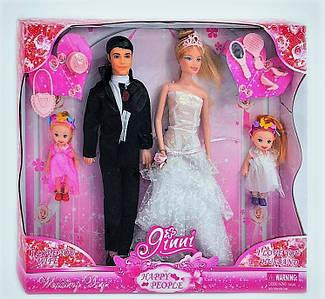 """Кукла Барби """"Jinni"""" 83187, набор кукол """"семья"""", 4 куклы, Jinni в свадебном платье с женихом, восторг для детей"""