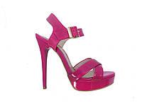 Женские лаковые босоножки на каблуке (розовые) Polivi №WS1388-3-3