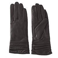 Перчатки женские (кожаные, темно-серого цвета, модные, качественные)