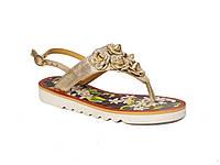 Женские кожаные сандалии с розами (золотые) Tucino №248-89