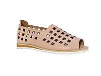 Женские кожаные босоножки с перфорацией (розовые) Tucino №207-0001