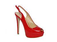 Женские лаковые босоножки на каблуке и платформе (красные) Paoletti №996