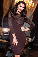 Стильное  ангоровое платье с сеткой и стразами, цвет шоколад. Арт-9418/57