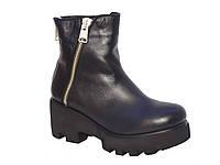 Зимние женские кожаные ботинки низкий ход Aillis №15-900
