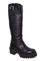 Женские зимние кожаные сапоги низкий ход Aillis №4801