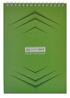 Блокнот на пружине сверху Buromax А5, 48 листов, Jobmax клетка, картонная обложка, зеленый BM.2474-04
