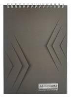 Блокнот на пружине сверху Buromax А5, 48 листов, Jobmax клетка, картонная обложка, серый BM.2474-09