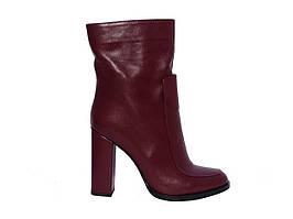 Женские кожаные демисезонные полусапожки на каблуке (бордовые) Paoletti №126-678