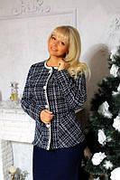 Женский юбочный костюм БАТАЛ 99-2010, темно - синий, 48