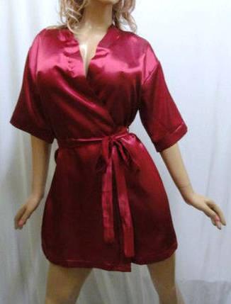 Атласный короткий женский халат, размеры от 42 до 52, фото 2