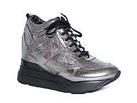 Женские кожаные кроссовки-сникерсы Tucino №293-15-280 (серебряные)