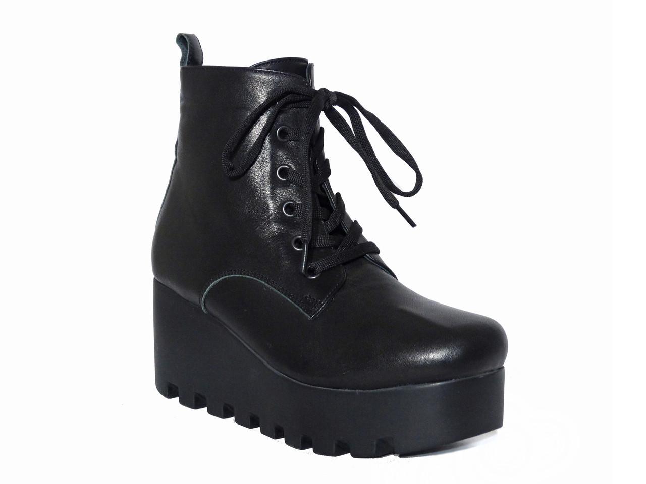 Кожаные зимние женские ботинки на платформе Donna Ricco №02-37 - Грани в  Одессе bf0212b60b8