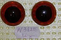 Глазки живые, карие,   d 25  мм.,  №36826(Без лучиков)